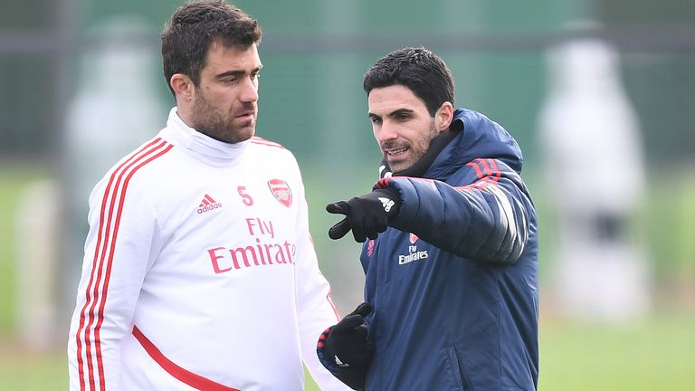 Arsenal Head Coach Mikel Arteta with defender Sokratis during a training session at London Colney on January 26, 2020 in St Albans, England. (Photo by Stuart MacFarlane/Arsenal FC via Getty Images)