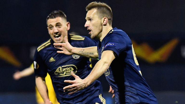 Mislav Orsic celebrates after completing his hat-trick
