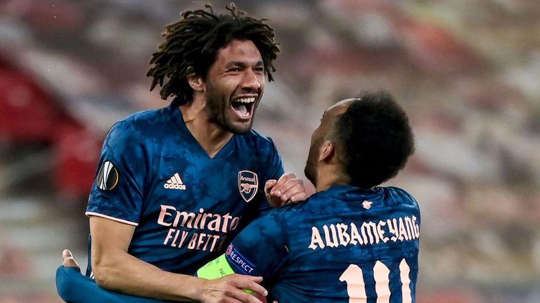 Mohamed Elneny celebrates scoring Arsenal's third goal with Pierre-Emerick Aubameyang
