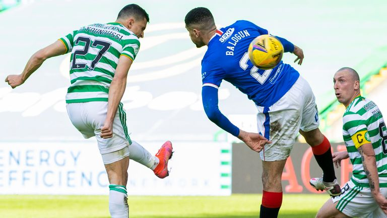 Celtic's Mohamed Elyounoussi (left) sees his header saved by Rangers' Allan McGregor during the Scottish Premiership match between Celtic and Rangers at Celtic Park