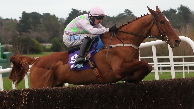 Monkfish ridden by Paul Townend clears the last fence before going on to win the Flogas Novice Chase during day two of the Dublin Racing Festival at Leopardstown