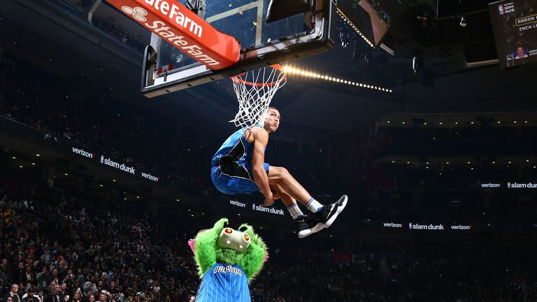 Aaron Gordon jumps over the Orlando Magic 'Stuff' during the 2016 All-Star Dunk Contest