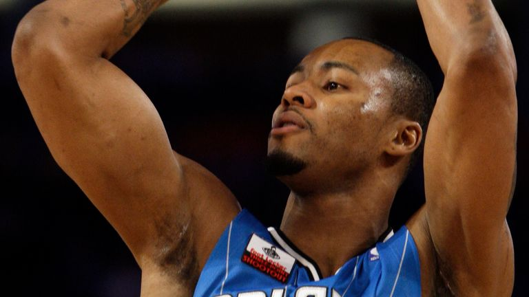Orlando Magic's Rashard Lewis takes a shot in the three-point shootout event during the NBA All-Star Weekend basketball, Saturday, Feb. 14, 2009, in Phoenix.