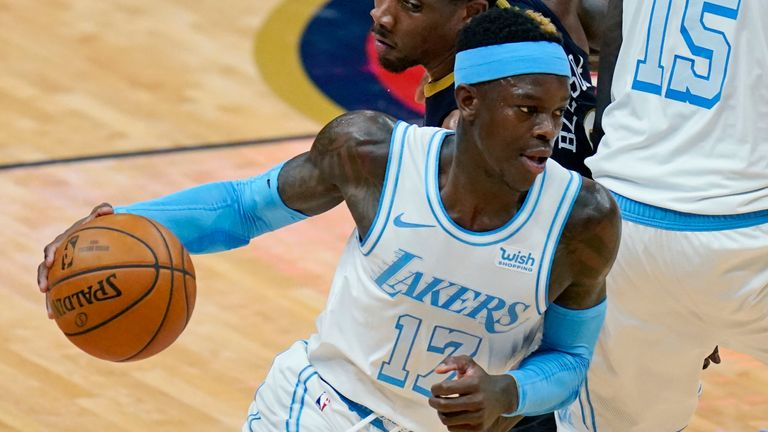 Dennis Schroder runs the pick and roll with Montrezl Harrell for the Los Angeles Lakers against the New Orleans Pelicans