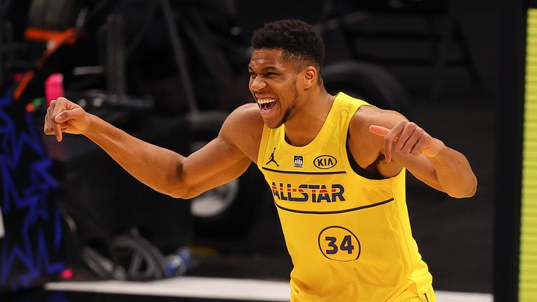 Giannis Antetokounmpo celebrates during the 2021 All-Star Game in Atlanta