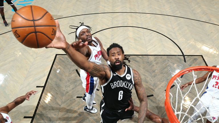 BROOKLYN, NY - MARCH 13: DeAndre Jordan #6 of the Brooklyn Nets shoots the ball during the game against the Detroit Pistons on March 13, 2021 at Barclays Center in Brooklyn, New York.