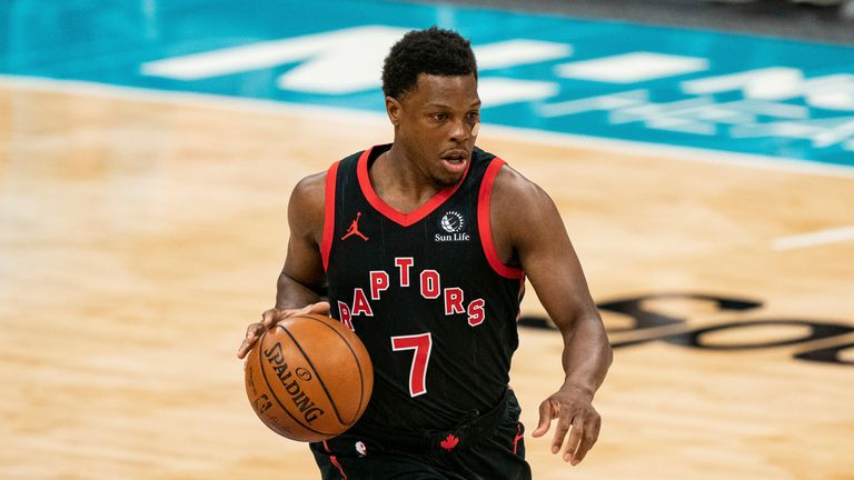 Toronto Raptors guard Kyle Lowry (7) brings the ball up court against the Charlotte Hornets during the second half of an NBA basketball game in Charlotte, N.C., Saturday, March 13, 2021. (AP Photo/Jacob Kupferman)