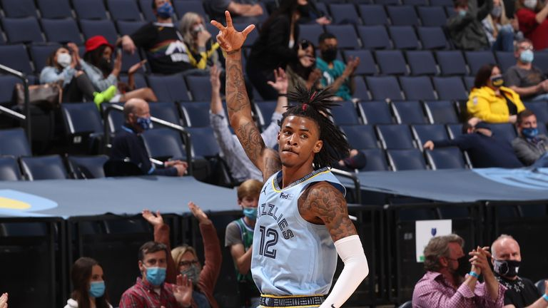 Ja Morant of the Memphis Grizzlies celebrates during the game against the Denver Nuggets