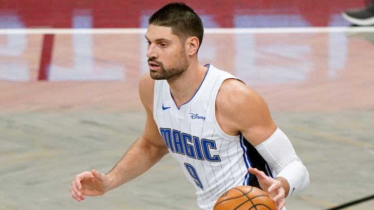 Nikola Vucevic dribbles the ball up the floor for the Orlando Magic