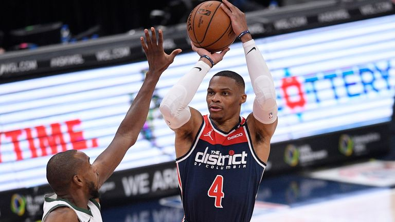 Russell Westbrook drops an impressive 42 points, 12 assists and 10 rebounds in the Washington Wizards' loss to the Milwaukee Bucks.