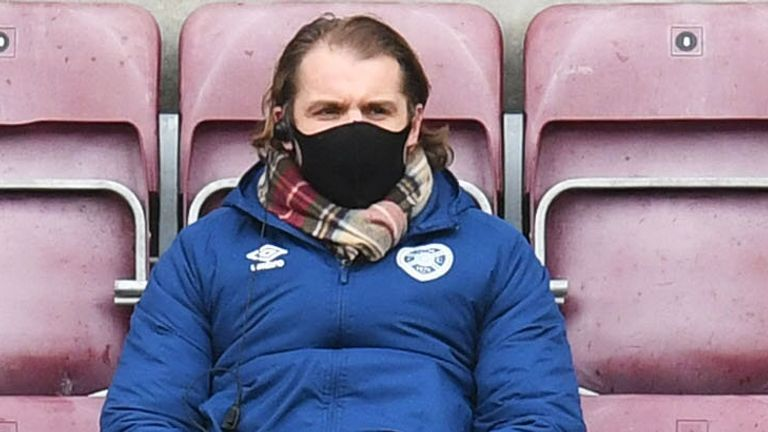 EDINBURGH, SCOTLAND - FEBRUARY 20: Hearts manager Robbie Neilson watches today's game from the stands during a Scottish Championship match between Hearts and Greenock Morton at Tynecastle on February 20, 2021, in Edinburgh, Scotland (Photo by Ross MacDonald / SNS Group)