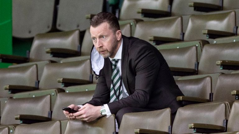GLASGOW, SCOTLAND - AUGUST 30: Celtic head of football operations Nick Hammond watches on from the stands during a Scottish Premiership match between Celtic and Motherwell at Celtic Park on August 30, 2020, in Glasgow, Scotland. (Photo by Craig Williamson / SNS Group)