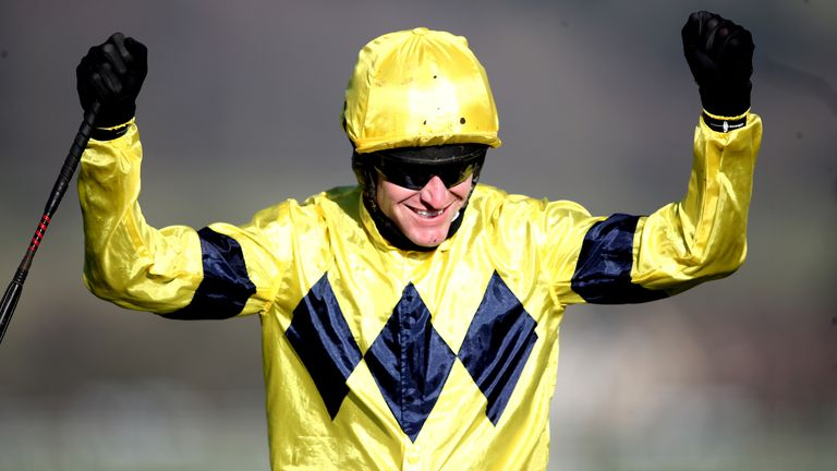 Nick Scholfield celebrates after winning on Sky Pirate at Cheltenham