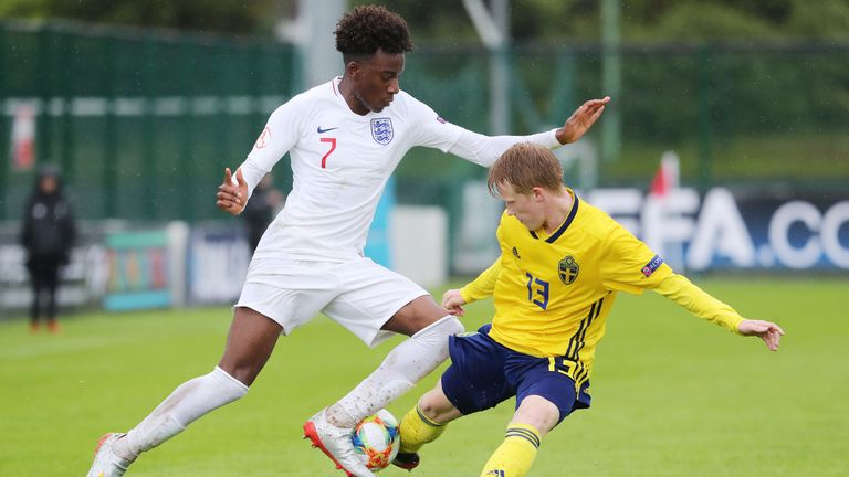 England's Noni Madueke and Sweden's David Edvardsson  during the UEFA European Under-17 Championship Group B match at Home Farm FC, Dublin. PRESS ASSOCIATION Photo. Picture date: Thursday May 9, 2019. See PA story SOCCER England U17. Photo credit should read: Niall Carson/PA Wire. RESTRICTIONS: Editorial use only, No commercial use without prior permission.