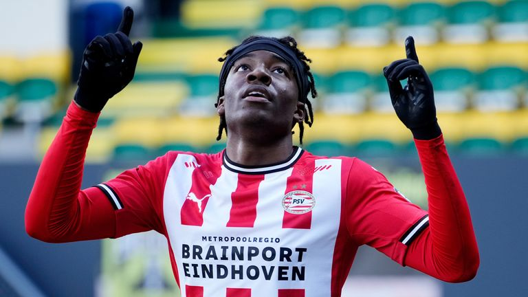 Noni Madueke of PSV celebrates 1-3, Jordan Teze of PSV, Mohamed Ihattaren of PSV during the Dutch Eredivisie match between Fortuna Sittard v PSV at the Fortuna Sittard Stadium on March 7, 2021 in Sittard Netherlands