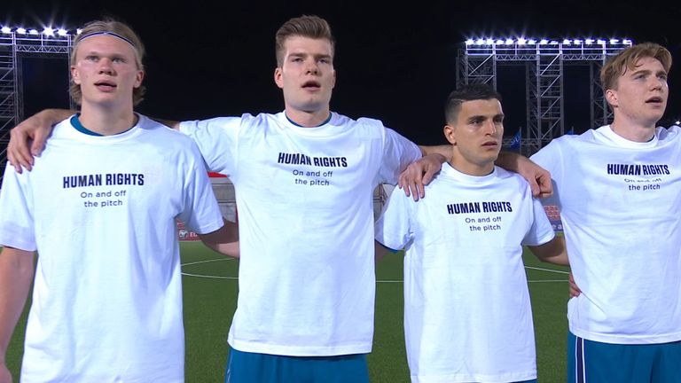 Norway players protest against Qatar's human rights record before their World Cup qualifier