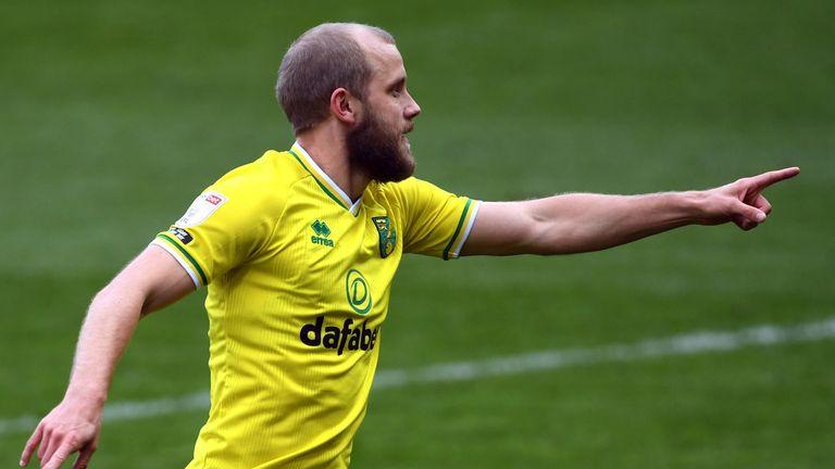 Norwich City's Teemu Pukki celebrates scoring against Luton