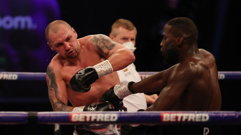 Lawerence Okolie vs Krzysztof Glowacki, WBO Crusierweight Title Contest, SSE Wembley Arena. 20 March 2021 Picture By Mark Robinson Matchroom Boxing.