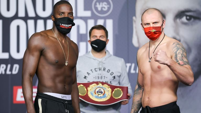 *** FREE FOR EDITORIAL USE ***.Lawerence Okolie and Krzysztof Glowacki Weigh In ahead of their WBO Crusierweight Title..fight tomorrow night..19 March 2021.Picture By Mark Robinson Matchroom Boxing