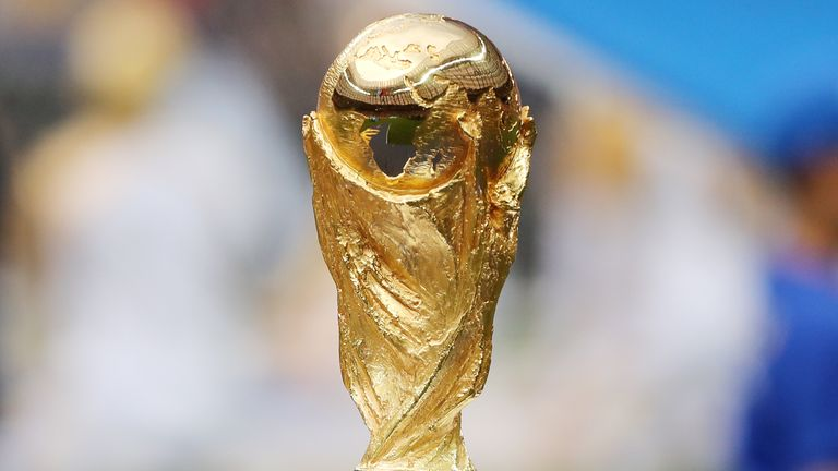 PA - General view of FIFA World Cup trophy