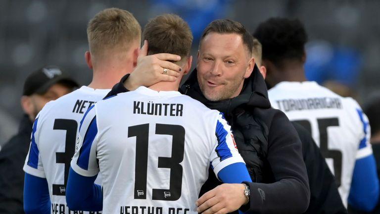 Hertha coach Pal Dardai hugs Hertha's Lukas Klunter