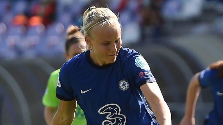 Pernille Harder slides home a first-half penalty against Wolfsburg