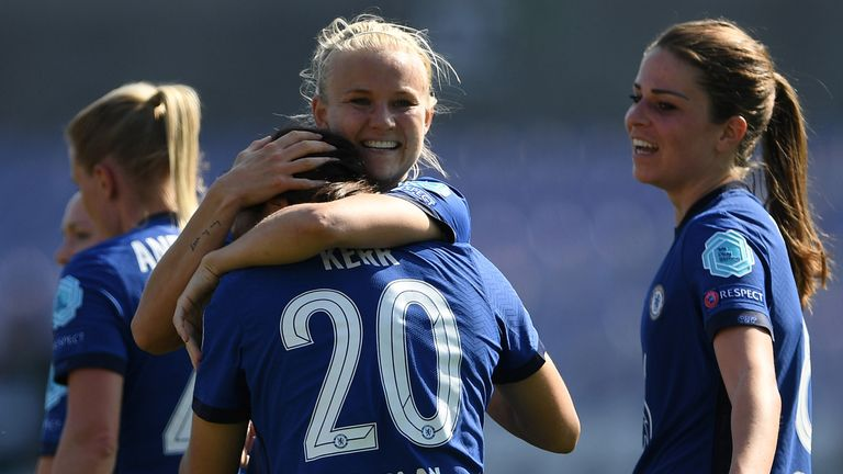 Pernille Harder hugs fellow Chelsea goalscorer Sam Kerr