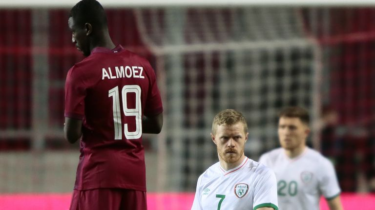 Qatar's players chose to stand instead of take a knee prior to their friendly against the Republic of Ireland