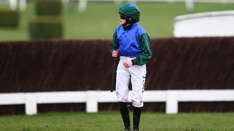 Rachael Blackmore reacts after falling off Plan Of Attack in the Fulke Walwyn Kim Muir Challenge Cup Handicap Chase during day three of the Cheltenham Festival