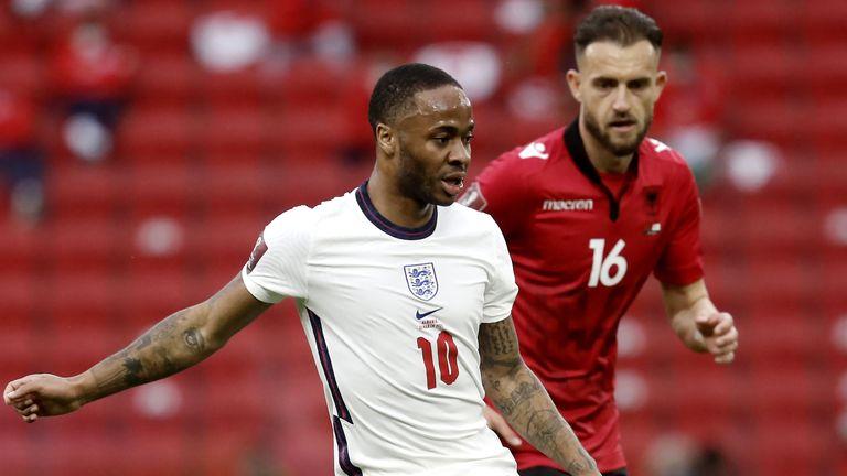 England's Raheem Sterling (left) and Albania's Sokol Cikalleshi battle for the ball