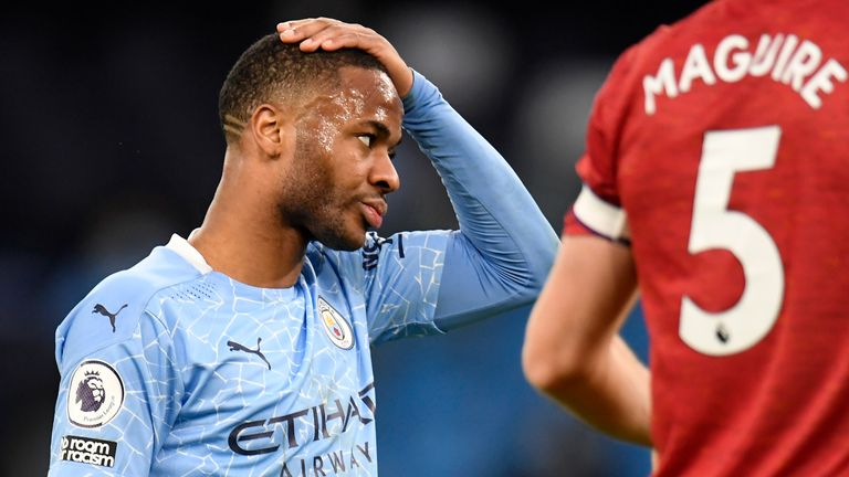 Raheem Sterling during the defeat to Man Utd
