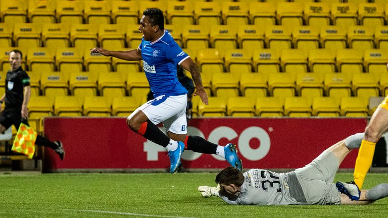 Rangers thought they should have had a penalty when Alfredo Morelos was challenged by goalkeeper Max Stryjek