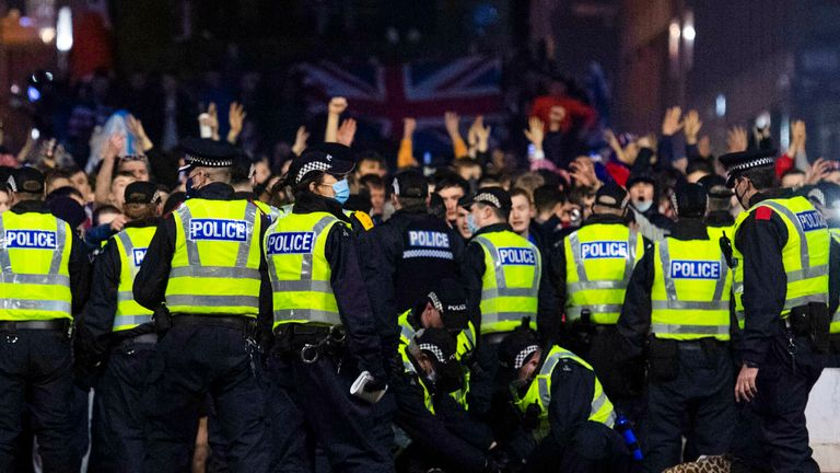 Police move in as Rangers fans gather at George Square after they are crowned champions