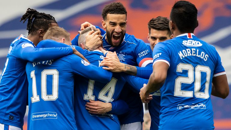Rangers players celebrate Ryan Kent's opener during a Scottish Premiership match between Rangers and St Mirren at Ibrox