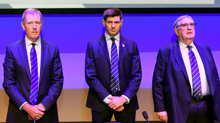 King (left) has backed Steven Gerrard (middle) and chairman Douglas Park (right) to continue helping Rangers strengthen