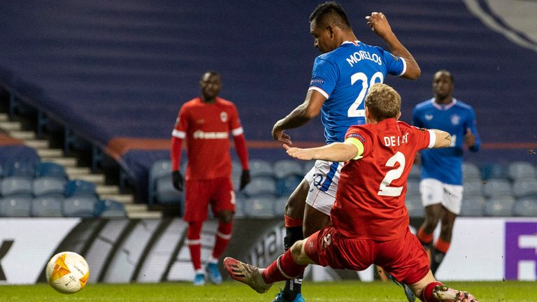 GLASGOW, SCOTLAND - FEBRUARY 25: Alfredo Morelos scores to make it 1-0 Rangers during a UEFA Europa League match between Rangers and Royal Antwerp at Ibrox Stadium, on February 25, 2021, in Glasgow, Scotland. (Photo by Craig Williamson / SNS Group)