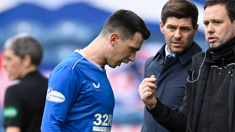 Ryan Jack has not played for Rangers since limping out of their game against Dundee United on February 21
