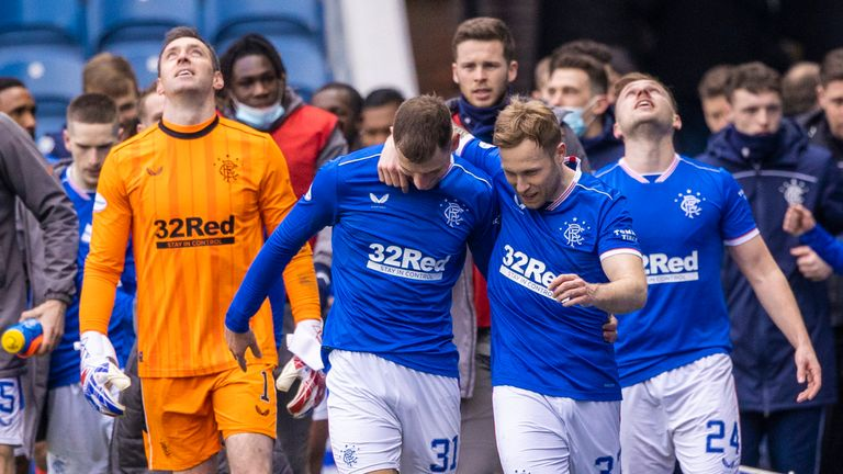 GLASGOW, SCOTLAND - MARCH 06: Rangers' players celebrate at full time during a Scottish Premiership match between Rangers and St Mirren at Ibrox Stadium, on March 06, 2021, in Glasgow, Scotland. (Photo by Craig Williamson / SNS Group)