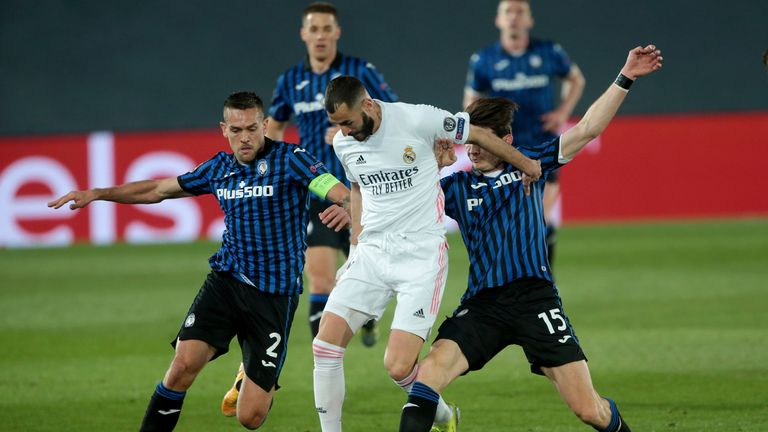 AP / Madrid, Spain; 16/03/2021.- Real Madrid against Atalanta round of 16 match day 2st of the Champions League, held at the Alfredo Di Stefano Stadium in Madrid..Real Madrid player Karim Benzema..Final Score 3-1.Photo: Juan Carlos Rojas/Picture Alliance