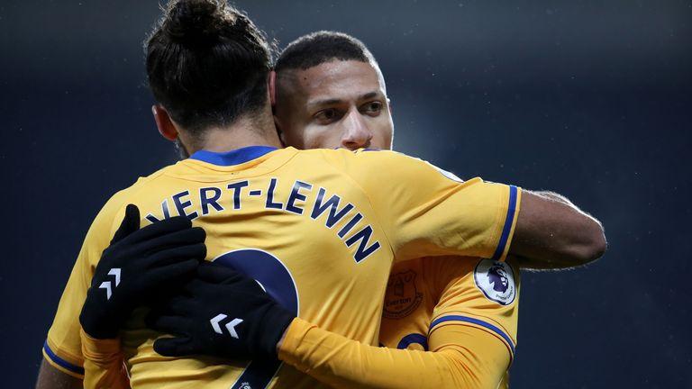 Richarlison celebrates his goal with team-mate Dominic Calvert-Lewin