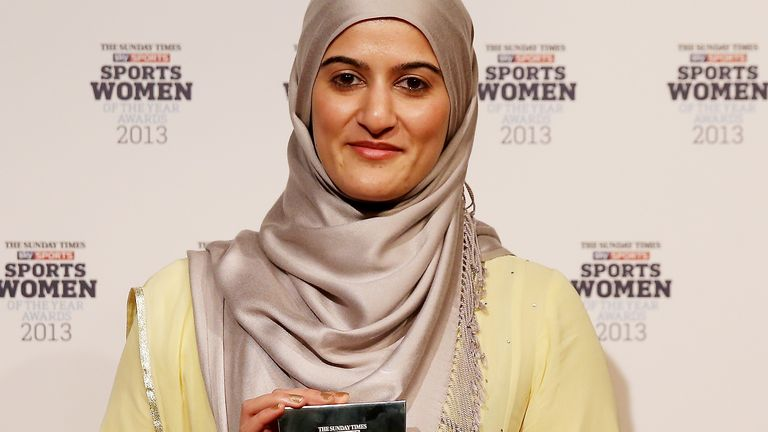 Rimla Akhtar poses in the winners room at The Sunday Times & Sky Sports Sportswomen of the Year awards at Sky on December 5, 2013 in Isleworth, England.