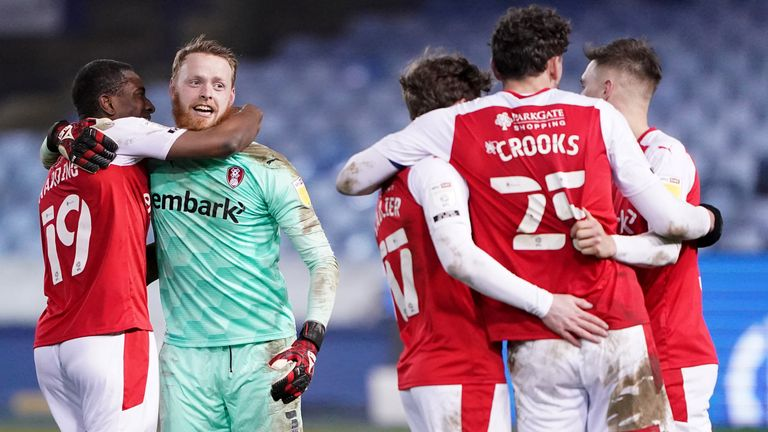 Rotherham celebrate their late win at Sheffield Wednesday