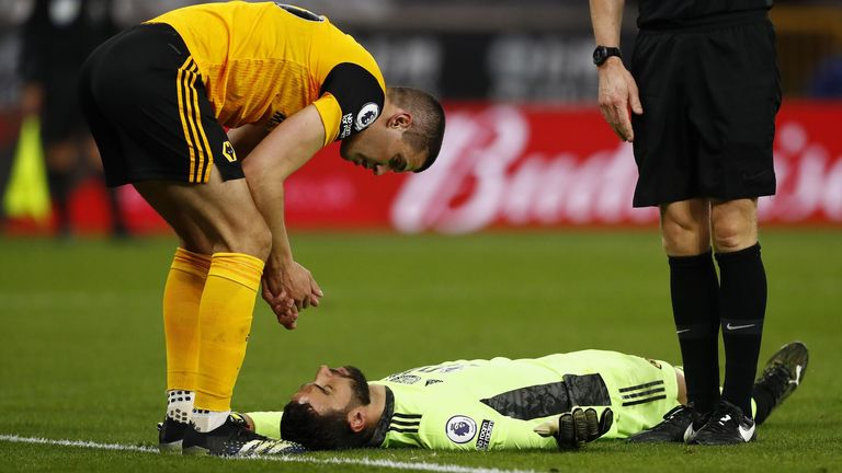 Rui Patricio was injured in an accidental clash with Wolves teammate Conor Coady (PA)