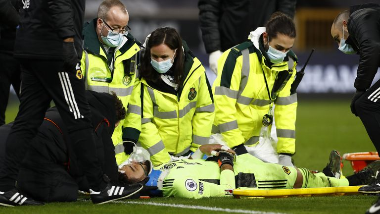 Wolves goalkeeper Rui Patricio was injured during his side's match with Liverpool (PA)