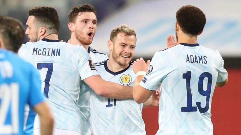 Ryan Fraser celebrates scoring for Scotland vs Israel