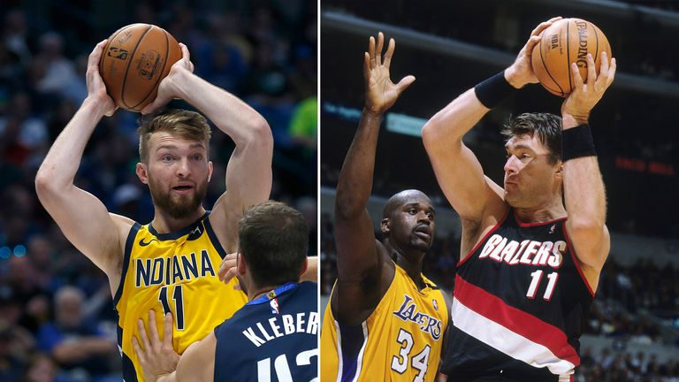Indiana Pacers forward Domantas Sabonis on the left, with his father Arvydas Sabonis of the Portland Trailblazers with the ball as Shaquille O'Neal defends on the right