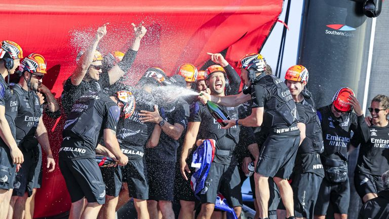 The elation is clear for all to see after Emirates Team New Zealand's victory (Image Credit - ACE 36 | Studio Borlenghi)
