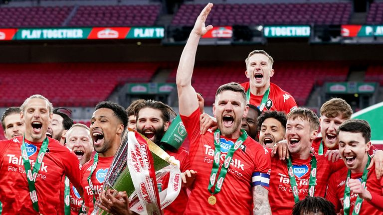 Salford lifted the 2019/20 Papa John's Trophy after a penalty shootout win over Portsmouth