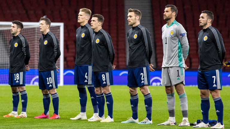 GLASGOW, SCOTLAND - OCTOBER 14: Scotland's players line up during a Nations League match between Scotland and Czech Republic at Hampden Park, on October 14 2020, in Glasgow, Scotland (Photo by Craig Williamson / SNS Group)
