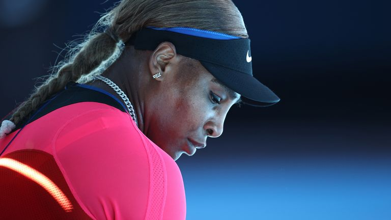 Serena Williams of the United States looks on in her Women's Singles Semifinals match against Naomi Osaka of Japan during day 11 of the 2021 Australian Open at Melbourne Park on February 18, 2021 in Melbourne, Australia. (Photo by Cameron Spencer/Getty Images)
